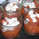 Verrines poivrons, tomates, mozzarella